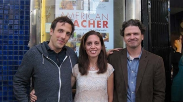 Teachers Answer Back<br />Codirector/editor Brian McGinn (left) and producers Ninive Calegari and Dave Eggers off...